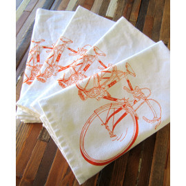 Natural Cotton Dinner Napkins, Bikes