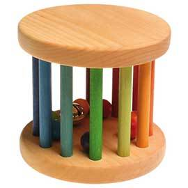 Wooden Rainbow Rolling Wheel with Bells