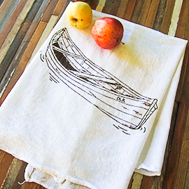 Natural Cotton Tea Towel, Canoe