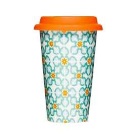 Double Wall Porcelain Take Away Mug with Silicone Lid, Tile