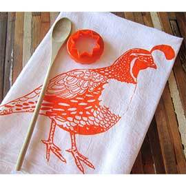 Natural Cotton Tea Towel, Orange Quail