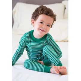 Kids Organic Cotton Pajamas, Forest Stripe, 5T