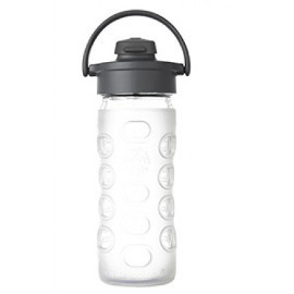 12oz Glass Water Bottle with Flip Top
