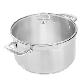 Stainless Steel Casserole with Glass Lid, 6 Qt.