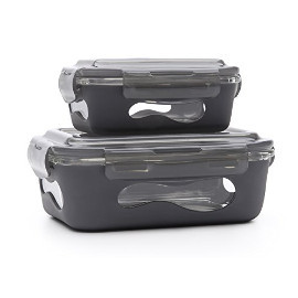 Glass Rectangular Container w/ Silicone Sleeve