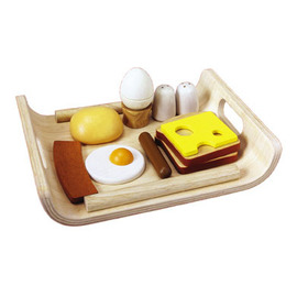 wood breakfast tray with food