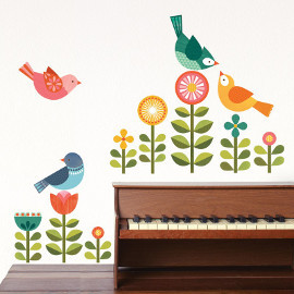 Modern Birds Fabric Wall Decals