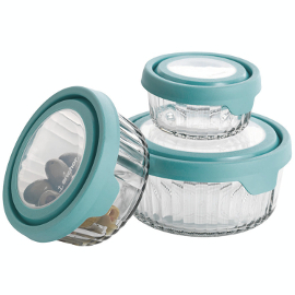 Embossed Glass Food Storage with True Seal Lid (Mineral Blue)