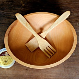 solid wood salad bowl