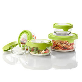 Round TrueSeal Glass Food Storage with Green Lid