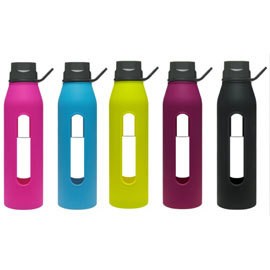 22oz Classic Glass Water Bottles with Silicone Sleeve